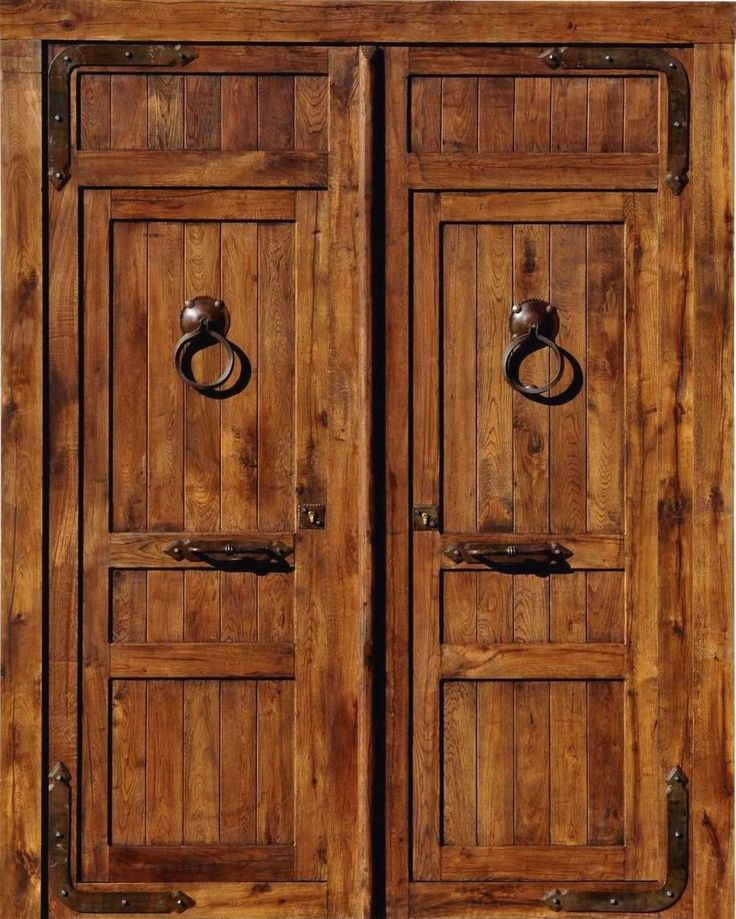 Puerta exterior rustica fierro y madera herrer a - Puertas madera exterior ...
