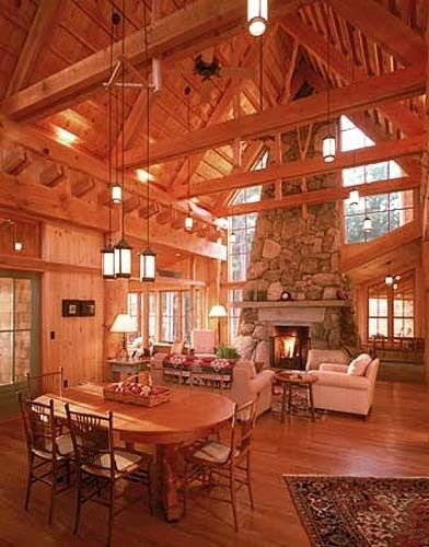Modern Log Cabin Interior In Maine Cabin Love Pinterest