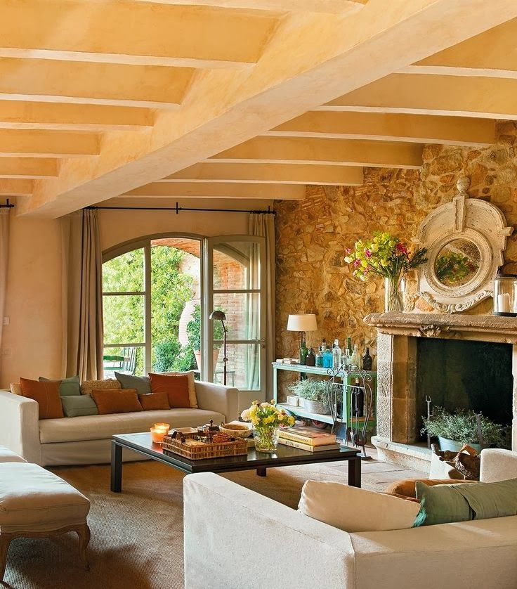 Cozy Living Room Stone Walls Fireplace Home Inspiration Pintere