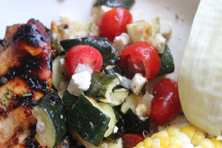 Zucchini, onion, tomato, feta salad | Beat MS recipes | Pinterest
