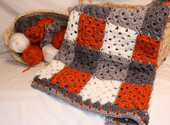 Baby Blanket, Handmade, Crochet, Burnt Orange with grey ...