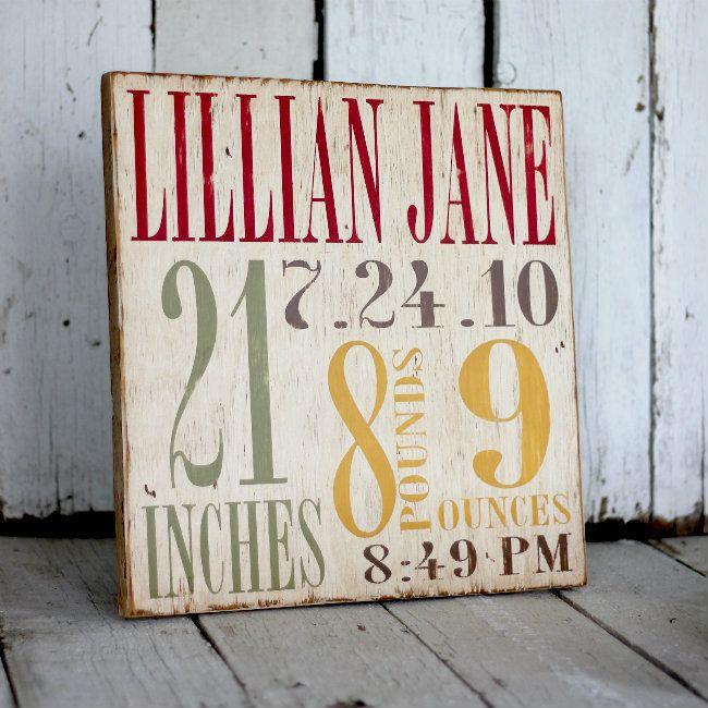 Birth Announcement Distressed Home Decor Wall Art