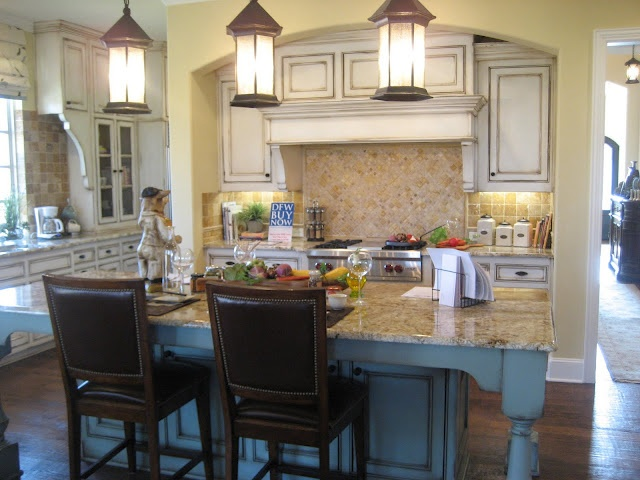 Pin by courtney hines on house floor plans exterior for Blue distressed kitchen cabinets