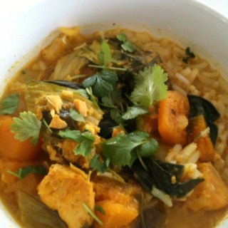 ... up leftovers - Nigella's Thai Yellow Pumpkin and Seafood Curry today