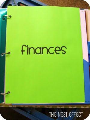 finances binder pages based on Dave Ramsey-- plus organization!