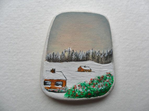Miniature art  Hand painted Alpine landscape by Alienstoatdesigns, $15.00