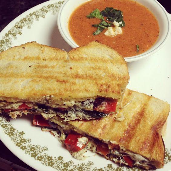 Eggplant Mozzarella Panini + Creamy Tomato Basil Soup