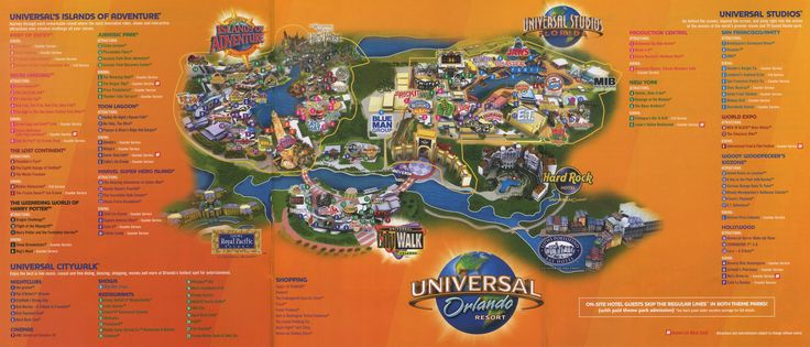 Universal Orlando Resort 2011 Map Theme Park Maps