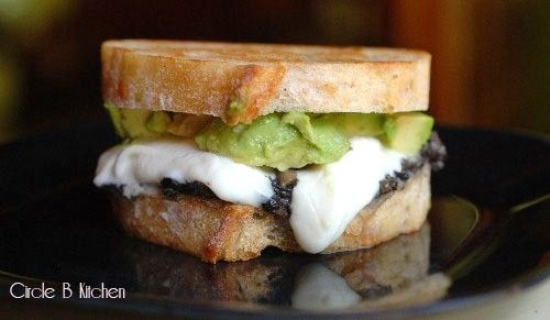 Mozzacado Sandwich with Mushroom Goat Cheese Tapenade