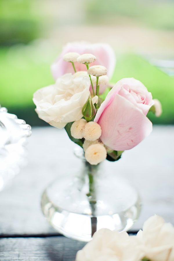 Rose bud vase wedding centerpiece