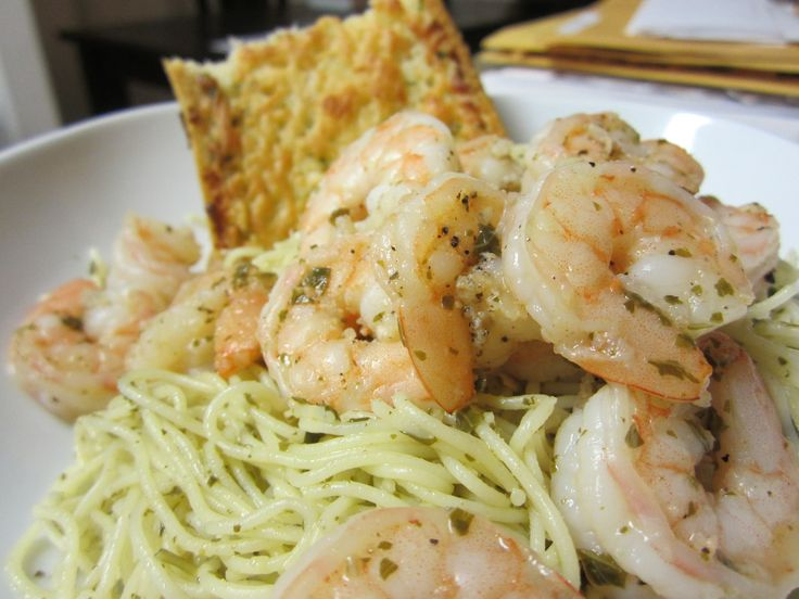 Shrimp & Angel Hair Past in Pesto Sauce | Conversations with my Stoma ...