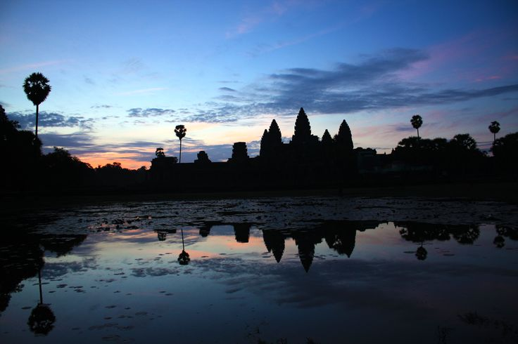 Cambodia Angkor wat temples sunrise reflection