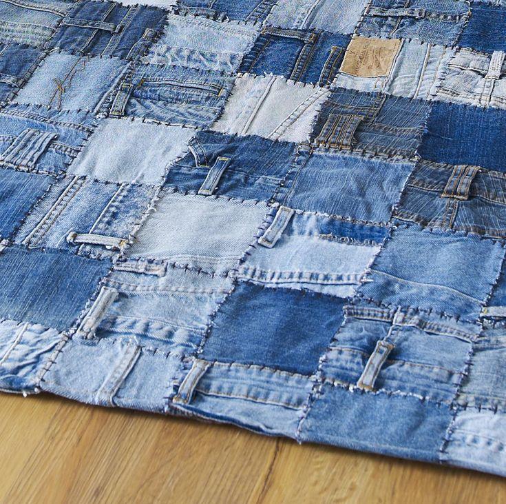 Как из джинс сшить коврик из