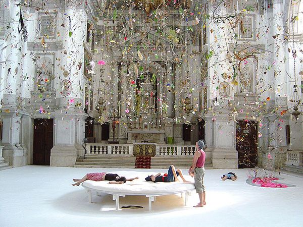 Contemporary Swiss artists Gerda Steiner and Jorg Lenzlinger design site-specific installations that envelop the viewer. Falling Garden is a world in which botanical curios are suspended from the ceiling of a 17th-century church in Venice