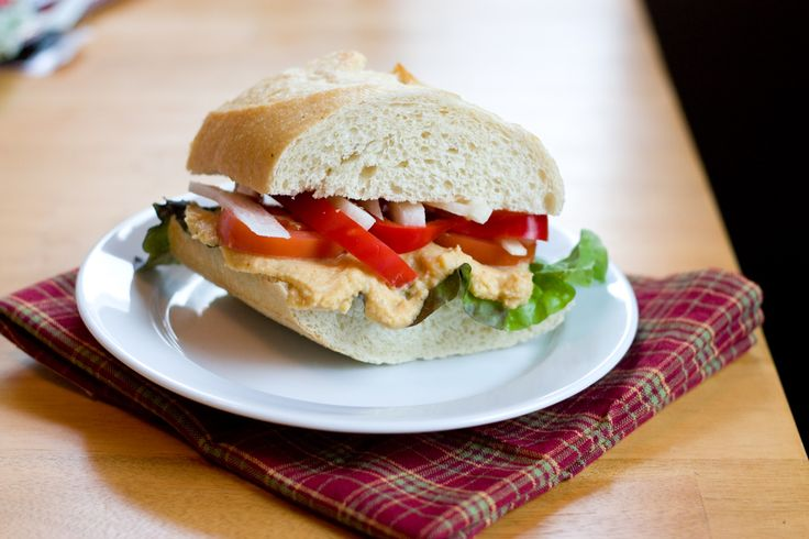Veggie Hummus Sandwich-- Use lowfat hummus, ditch the olive oil, and ...