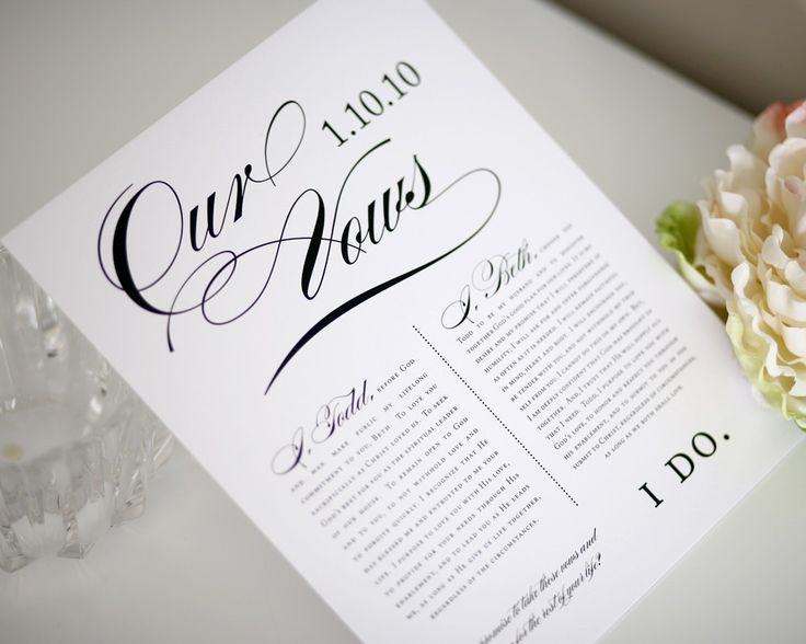 Personalised Wedding Vow Gifts : Custom Wedding Vows Keepsake, 8x10
