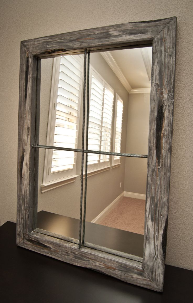 Mirror rustic distressed faux window large graywash for Window mirror