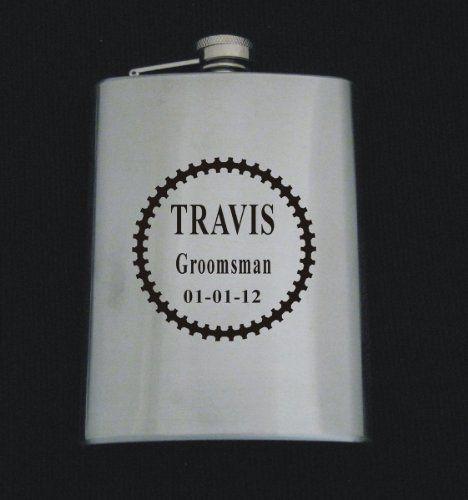 Logo 517 W/ Text Stainless Steel 8 oz Flask Wedding Groomsman Gift ...