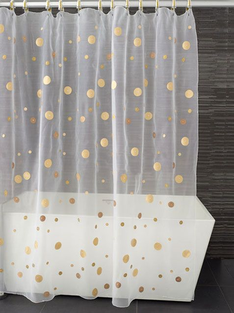gold polka dot sheer shower curtain could be used for the wall behind ...