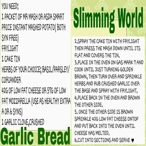 Slimming world garlic bread vegetarian slimming world Slimming world my account