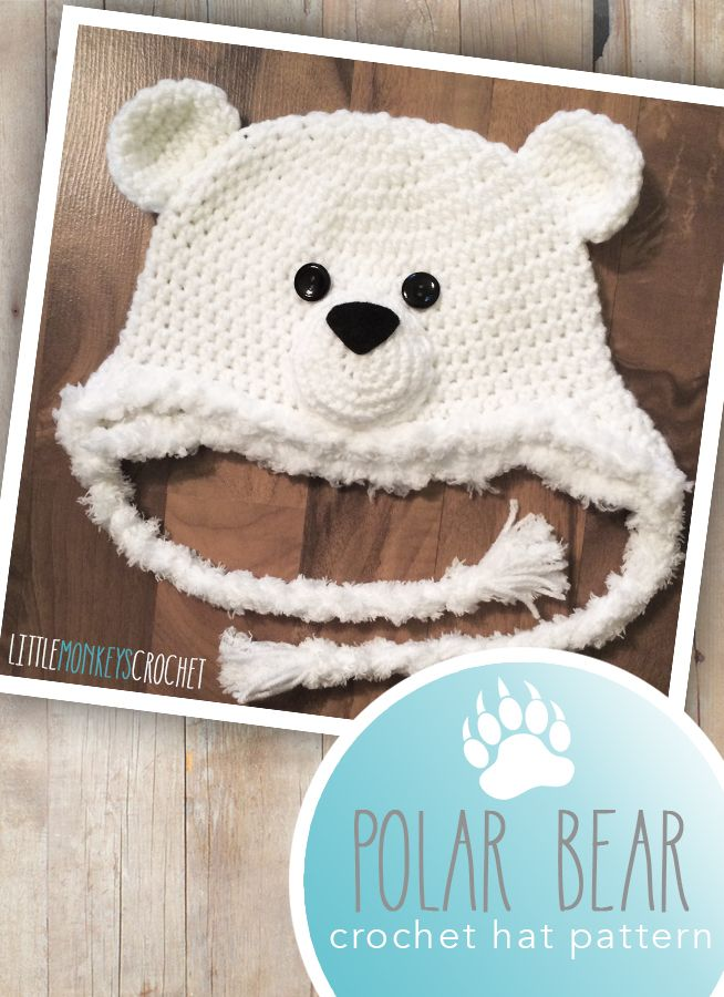 Polar Bear Hat Crochet Pattern | by Little Monkeys Crochet | Crochet this adorable 6-12m polar bear crochet hat pattern to complete your winter wardrobe!