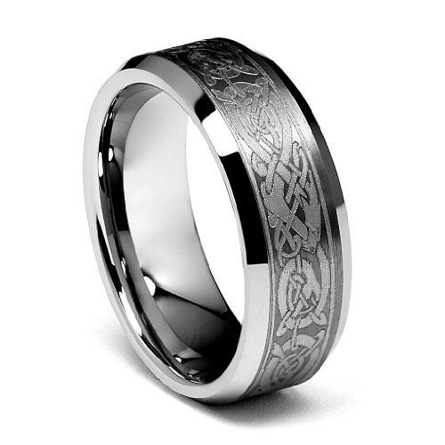 Celtic Dragon Pattern Tungsten Carbide Comfort Fit Wedding Band Ring