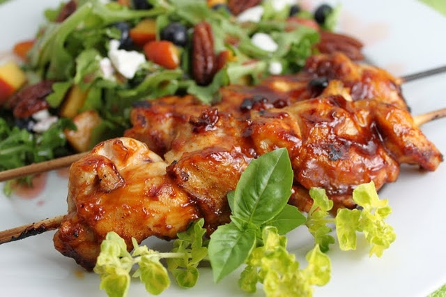 Grilled Chicken Kabobs- pureed bacon! | Chicken | Pinterest