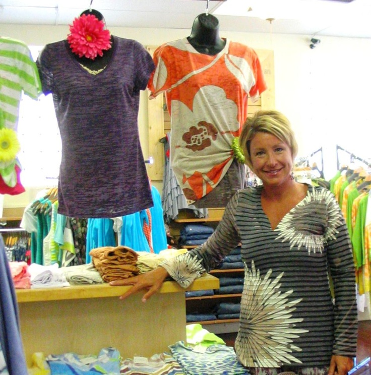 Kim, showing off her B+A Weekly Giveaway Banded Tunic - we're giving away the shirt, dress or tunic of your choice every Friday through June!