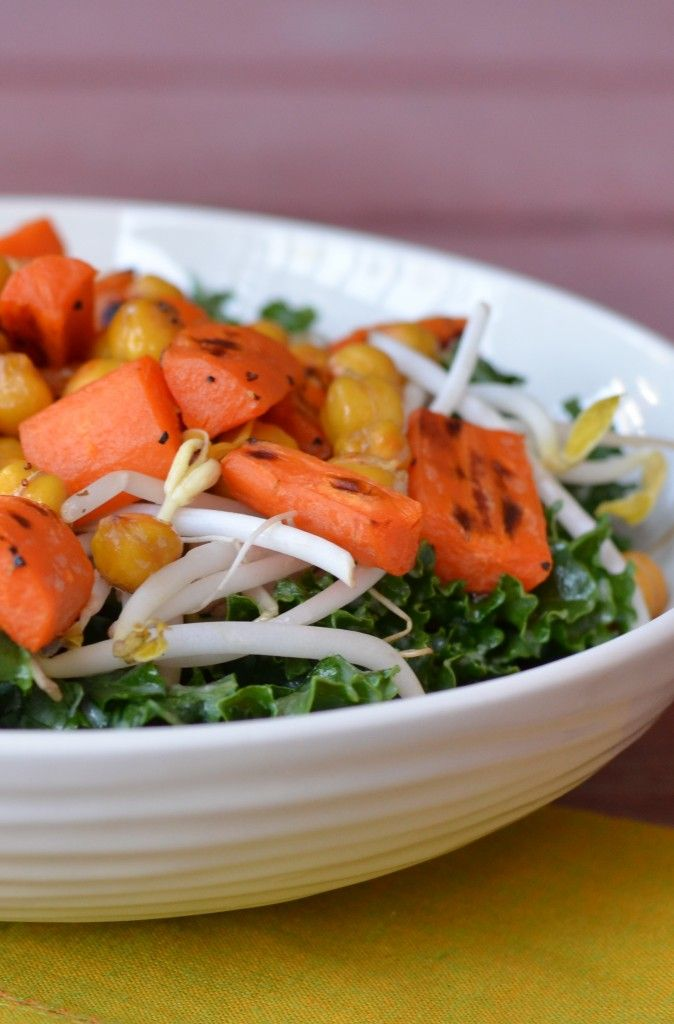 Roasted Carrot and Chickpea Salad with Miso Ginger Dressing (sub agave ...