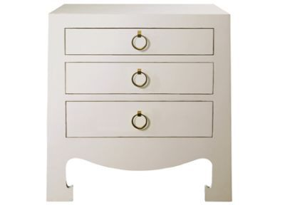 Jacqui 3 Drawer Side Table White Materials Lacquer Finish Size 28