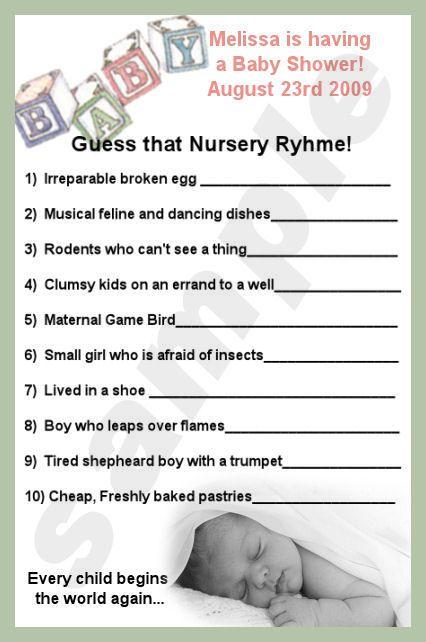 Nursery rhyme baby shower theme nursery rhyme