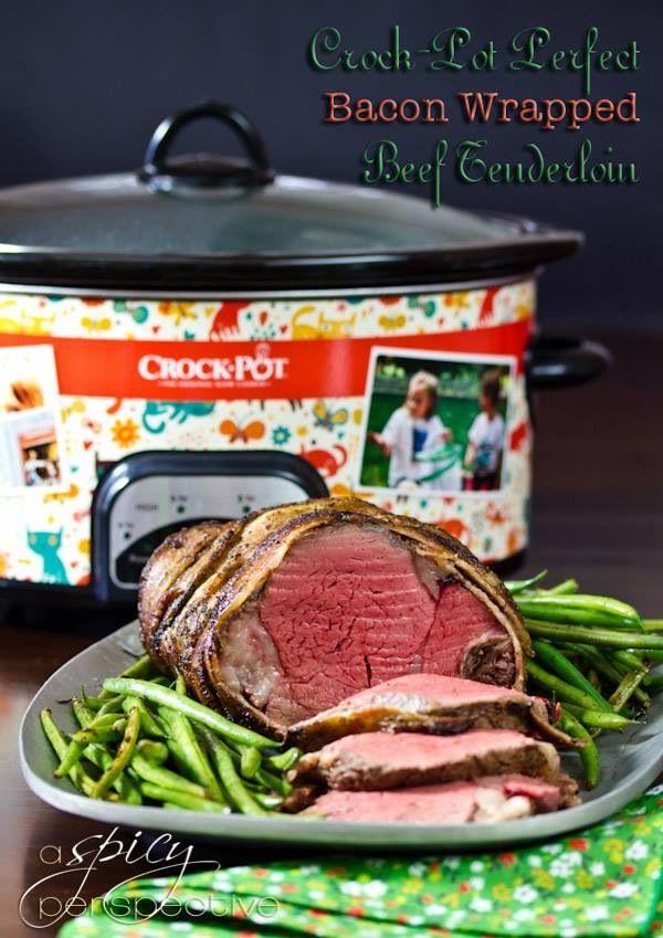 Crockpot bacon wrapped beef tenderloin | Meat | Pinterest