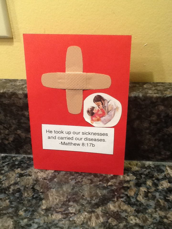 Sick easy sunday school craft band aid cross with bible verse on card