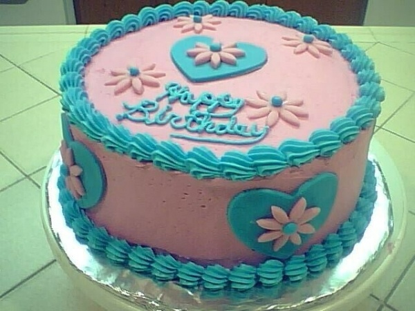 PINK AND BLUE BIRTHDAY CAKE  Aqua + Pink Party  Pinterest