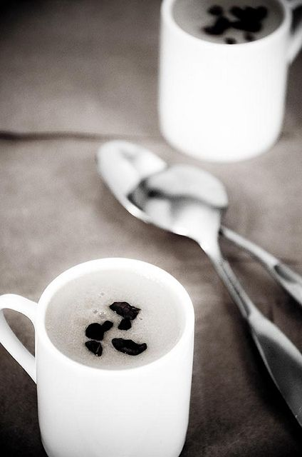 This sounds interesting.....Coffee Panna Cotta with Cacao Nibs