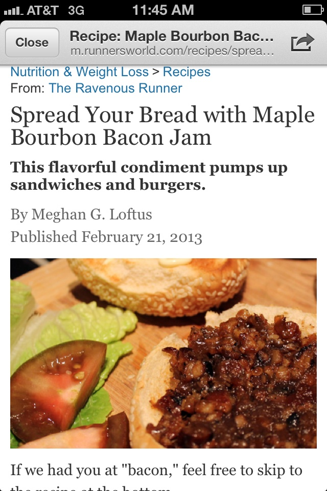 Maple Bourbon Bacon Jam - wow. http://m.runnersworld.com/recipes ...