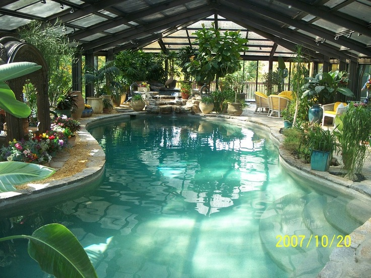 Indoor pool w green house wishlist pinterest for Swimming pool greenhouse