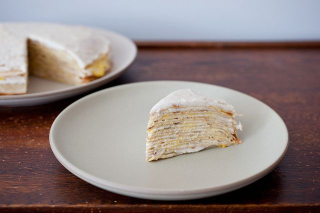 together for a cannoli crepe cake with orange puree. Sounds delicious ...