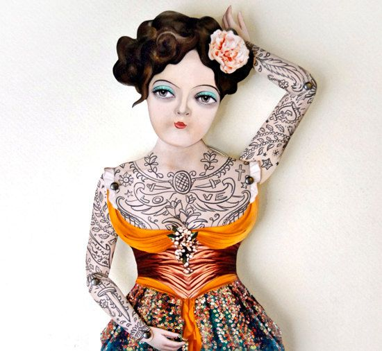 Victorian Tattooed Gal Paper Puppet Doll, $20