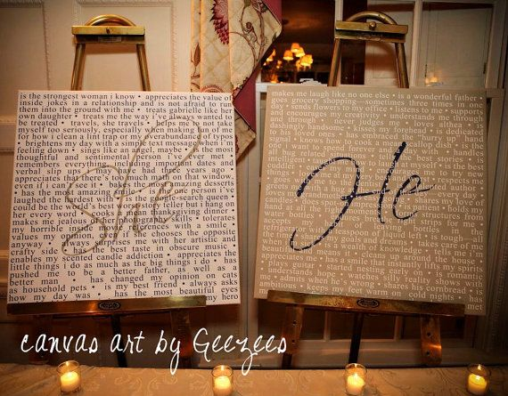She He Word Art wedding phrases Reception Art by Geezees Custom Canvas