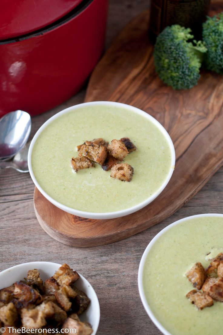 Green Beer Cheese Soup (Broccoli Cheddar) with Pesto Croutons (no food ...