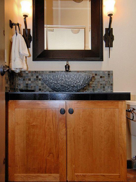 like this narrow backsplash from powder room backsplash design