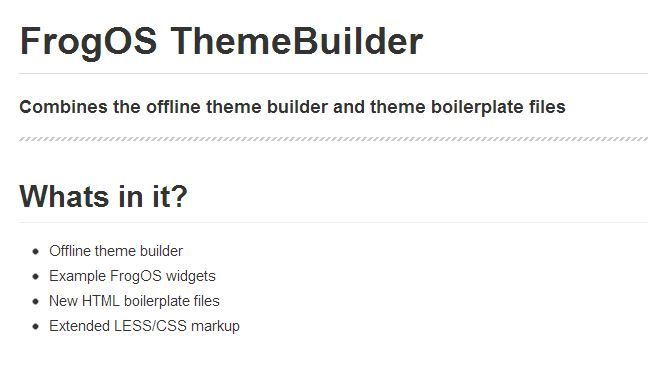 FrogOS ThemeBuilder. Combines the offline theme builder and theme ...