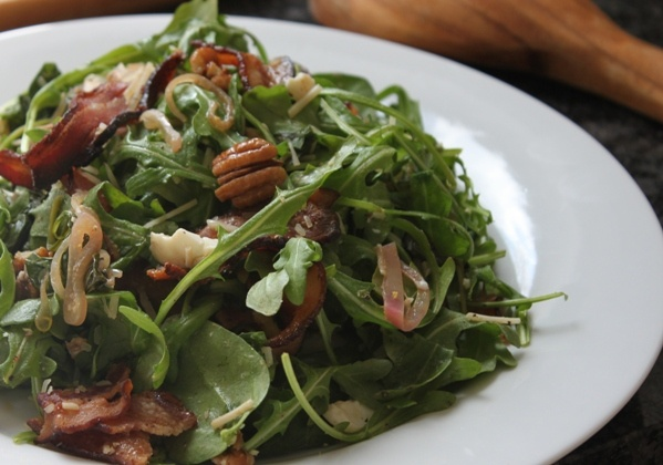 Care's Kitchen: Warm Spinach Arugula Salad with Bacon, Eggs and Pecans ...