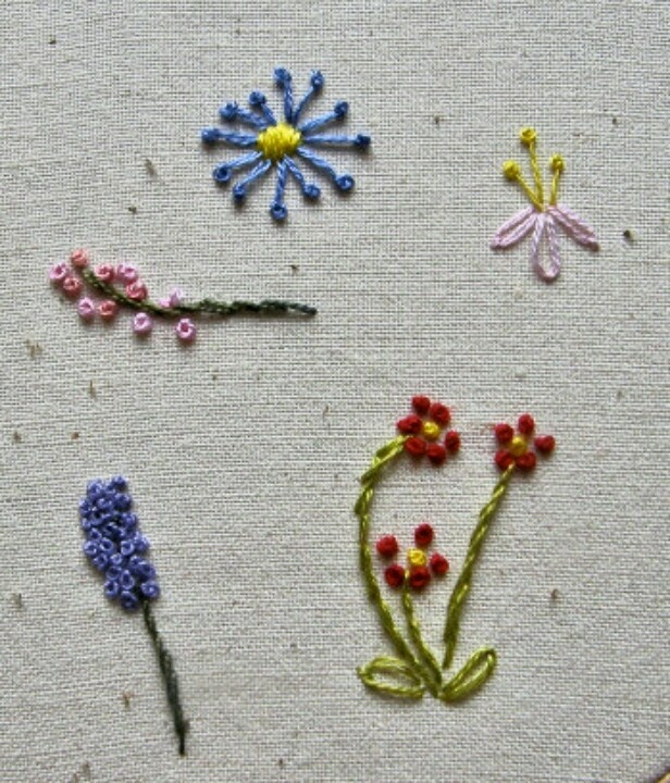 French knot flowers embroidery stitches or pontos de
