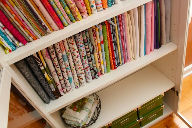Smashed Peas and Carrots: Mini Fabric Bolts and Some Studio Organization