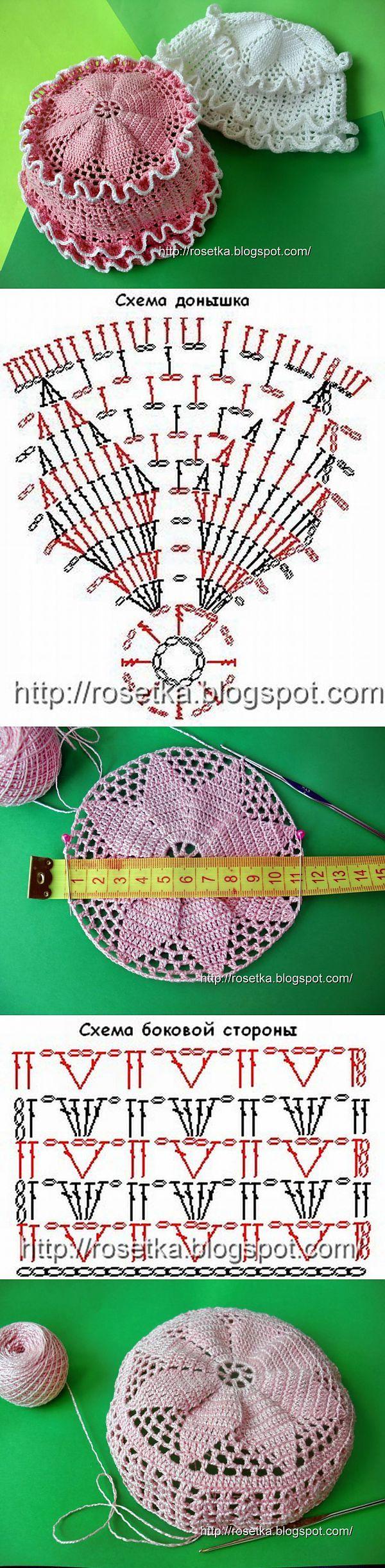 Схемы вязания крючком панамок для девочек на лето фото