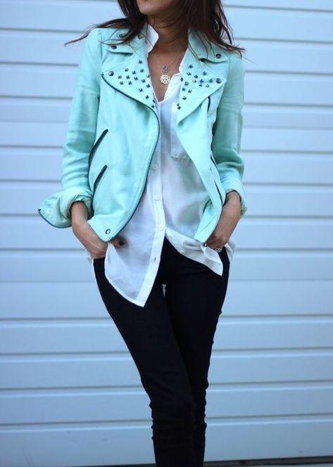 Mint biker jacket.
