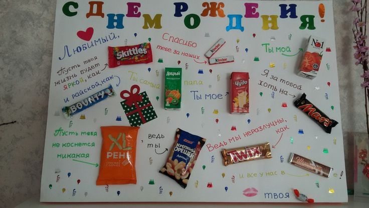 Подарок на день рождения на ватмане со сладостями 25