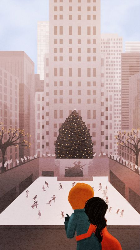 NY winters <3  nidhi chanani- cute illustrations, moments of love/joy captured of life